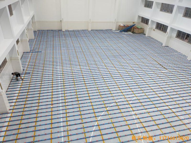 上海宝山区技术学院运动木地板铺设案例