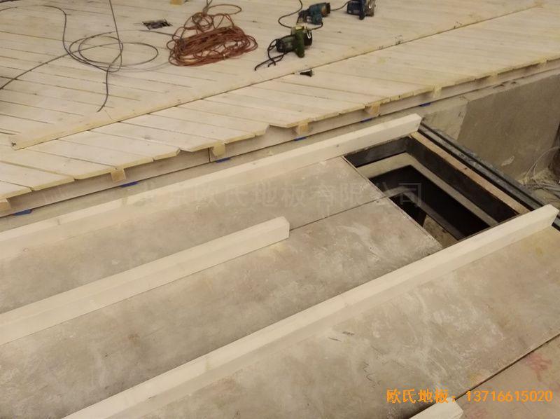 河北廊坊益田同文学校舞台体育木地板安装案例