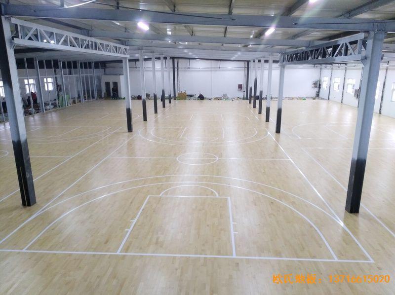 河南濮阳永康篮球训练中心体育木地板铺设案例